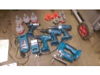 Makita 18v bundle 8 batteries 1x driver 3x drills 1 MXT 1x Jigsaw 2x chargers boxes storage dewalt