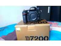 Nikon d7200 DSLR camera body only new condition come whit battery charger full box shoulder trap