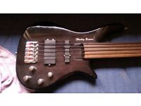 Harley Benton 5 string bass guitar, with super smooth strings.
