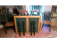 Extendable Green-Tiled Dining Table & 4 Chairs