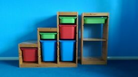 1 Triple Tub Storage unit and 2 Single Tub Book Cases/Shelving Units