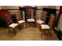 5 antique arts and craft dining chairs