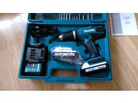  Makita 18v drill g series +DC18WA Charger +2 x BL1813G batteries + 74Pc set + case + user manual
