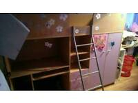 Girls bunk bed with computer desk .draws and wardrobe