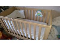 mama's and papa's nursery furniture cot bed, wardrobe and change station VGC