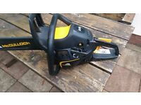 "McCulloch CS 340 14"" Petrol Chainsaw with Oregon helmet and protective gloves"