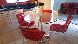 Glass Dining Table and Chair Set