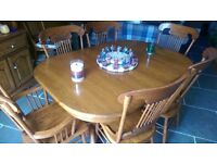 American oak table with 8 chairs