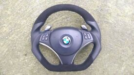 BMW M3 E81 E82 E87 E90 E91 E92 E93 DCT PADDLE SHIFTERS SPORT NEW CUSTOM MADE STEERING WHEEL