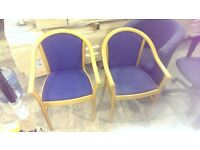 Chairs x 2 Wooden frame with blue fabric