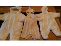3 designer snow suits ranging newborn-6mth
