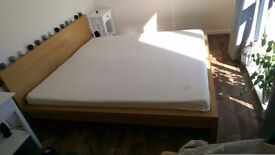 Super king size bed frame for sale + free used memory foam mattress. Urgent.
