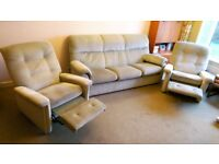 3 piece suite (sofa, 2 recliner armchairs) Parker Knoll - very good condition