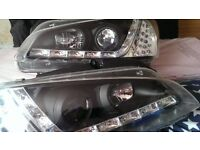 PAIR OF PEUGEOT 106 BLACK DRL HEADLIGHTS WITH LED INDICATORS