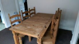 6ft Pine Dining Table with 6 chairs - Mexican Corona Style