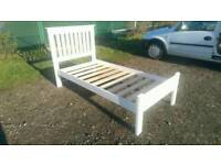 Can deliver: white single bed frame for sale. Solid wooden pine.