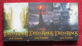 Set 3 Paper back books, THE LORD OF THE RINGS by J.R.R. TOLKIEN, TITLES in description, v.g.c.