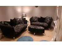 DFS Patterned Sofa 2 three steater + foot stool