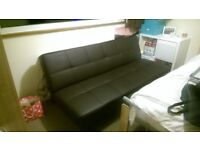 Brown Faux Leather Sofa Bed in Great Condition