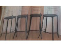 4 black leather and chrome bar stools