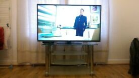 TV Stand 90 X 18 cms solid frosted glass and metal stand