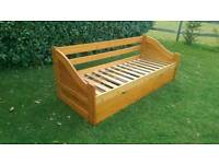 """Can deliver: solid wooden pine day bed and guest bed for sale with mattresses if wanted. 2'6"""""""
