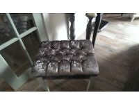 Dressing table stool with grey velvet and diamante buttons