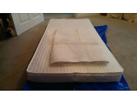 NEW NON-FOAM COT BED MATTRESS, SIZE 140 X 69 X 10 WITH 2 EASY-CHANGE MICROFIBRE TOPPERS