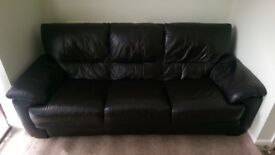 3 seater brown leather sofa for sale.