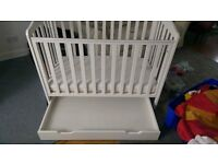 Mothercare cotbed with drawer and extras