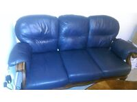 3 and 2 dark blue leather sofa and coffee table