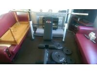 olympic weights 125 kg with bar and heavy duty bench