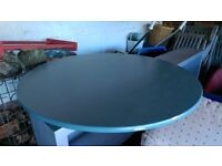 PINE TABLE, ROUND, PAINTED BLUE