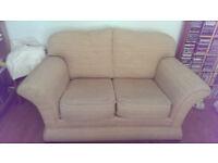 Beautiful cream and brown tweed 2 seater sofa