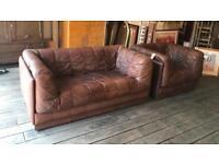 Mid Century Scandinavian Leather Sofa & Armchair