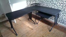 Computer desk - black, good quality, metal frame, L shaped, 3 parts, can deliver
