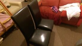 2x dining leather chairs