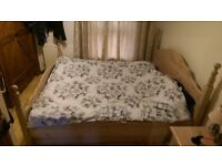 Solid Pine Super king bed with mattress and bed-side cabinets