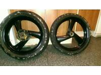 Cagiva mito 125 wheels with tyres marks on tyres is just old masking tape