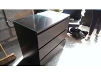 3 Drawer Chest with Glass Top for Sale