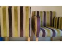 Chairs x 4, purple, green & khaki stripe upholstered