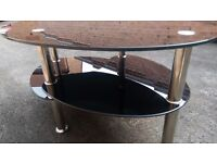 Chrome and black glass coffee table