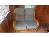 Conservatory furniture. 2 seater settee and 2 chairs. Sage green washable covers. Collection only.