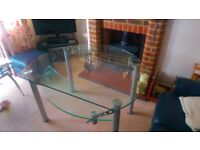 Glass Dining Table and Chairs - Extends - VGC