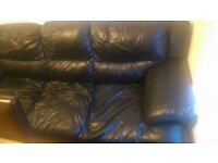 3 seater leather sofa + chair + ottoman