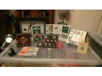 Various Bunc coins, coins, pins, collectable items