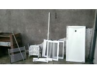 Ambulant wall mounted shower seat, screens, tray, wall handles, heated towel rail & shower rail