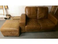 Leather sofa & footstool