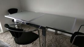 Glass & chrome dining table & 4 chairs