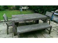 Large garden table with 2 benches and 2 chairs